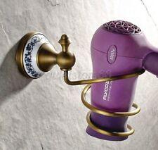 Wall Mounted Antiuqe Brass Spiral Hair Dryer Blower Holder Rack Bathroom qba403