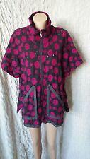 Niederberger wool grey/purple knitted zipped short sleeve coat cardi OSFA M-L