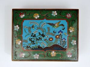 Old Japanese Gilt Cloisonne Enamel Shippo Box Flowers & Birds