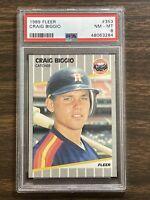 1989 Fleer #353 Craig Biggio Rookie Card PSA 8 NM-MT Houston Astros Hall Of Fame