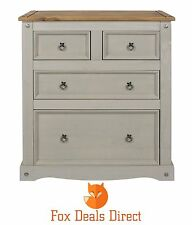 Chest Of Drawers Corona Grey Washed 4(2+2) Drawer Pine Painted Bedroom Furniture