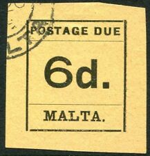 MALTA-1925 6d Black/Buff Postage Due  Sg D8 FINE USED V25633
