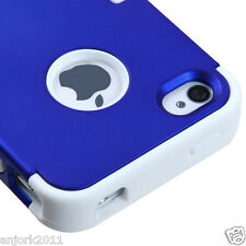 APPLE iPHONE 4 4S MULTI-LAYER HYBRID CASE COVER SKIN ACCESSORY BLUE/WHITE
