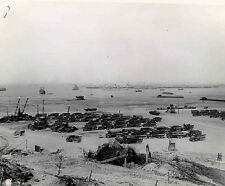 World War II Photo Cargo Trucks on Normandy Beachhead