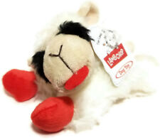 "Multipet Small Lamb Chop Plush Dog Toy Squeaky Squeaker Fetch White Red 6"" long"