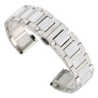 18/20mm Black/White Solid Stainless Steel/Ceramics Hidden Clasp Wristwatch Band