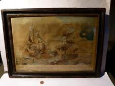 ANTIGUO 1758 Barco MONMOUTH & Foudroyant Battle Real Ave PLUMAS pintura