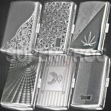 Cigarette Case King Size Metal Box Holder Big Silver Cases Tobacco 12 Cigarettes