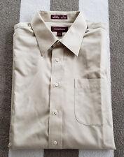 Nordstrom Mens 17-37 Smartcare Dress Shirt Long Sl Lt Beige Wrinkle Free EUC