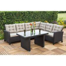 Rattan Eckbank mit Glastisch inkl Sitzkissen Sitzgruppe Gartenmöbel Loungemöbel