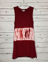 Umgee USA Boutique Women's S Small Burgundy Boho Tie Dye Sleeveless Summer Dress