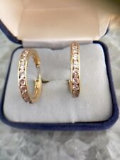 """Round Cubic Zarconia Hoops Large 1""""Earrings Solid 14k Yellow Gold 3.4 g"""