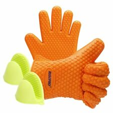 US Kitchen Heat Resistant Grilling BBQ Silicone Gloves & Mini Grips
