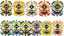 NEW 25 PC 1 Roll Black Diamond 14 Gram Clay Poker Chips Pick Your Denomination