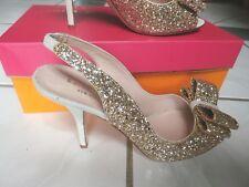 NEW $328 Kate Spade Charm Glitter Sequins Sling Back Bow Peep Toe Heels Size 7
