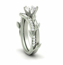 Certified 2.15ct Round White Diamond Natural Leaf Engagement ring 14K White Gold