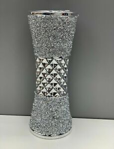 NEW 25CM CRUSHED DIAMOND STUNNING SILVER CRYSTAL SILVER CERAMIC VASE, SPARKLY