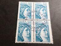 FRANCE BLOC timbres 2123 SABINE, oblitéré 1981 cachet rond, QUARTINA