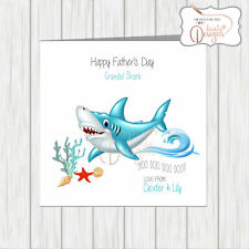 Personalised Names Baby Shark Funny Father's Day Card Grandad Grandpa Papa Dad