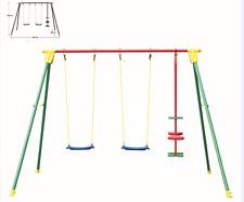 Altalena da giardino 3 posti 294x166 H200 cm giochi bambini esterno gioco KIKO 4