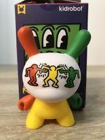 "Kidrobot KEITH HARING Dunny 3"" Mini Series Yellow Green Orange Dancing New"