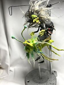 """HANDMADE CREEPY HALLOWEEN WICKED WITCH ON GRASSHOPPER WITH SPIDER HEAD 7 1/2"""""""