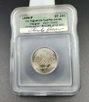 1999 P Connecticut Statehood Quarter Coin ICG Andy Jones Engraver Signature BU
