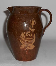 Old Time Pottery Wheel Thrown Dutch Decorated Pitcher