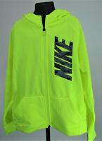 Nike Kids Dry Fit Full Zip Up Hoodie Jacket Medium M Volt Black Gray Boys Girls