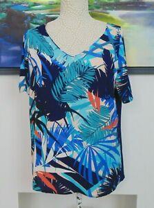 Size 14 Leaf Pattern Cold Shoulder Top Short Sleeve Contrast Front & Back Blue
