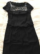 Patrizia Pepe 40 Italy Black Short Cap Sleeve Dress Sequin Disk Bead