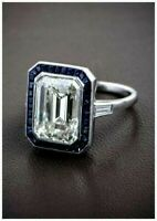 3.10 CT Cubic Zirconia Emerald Cut White Solitaire Anniversary Ring 925 Silver