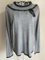 Afibel Women Jumper Size S (10-12) Grey Long Sleeve With Wool Button Bow Detail