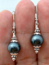 Women Elegant Black Peacock Sea Shell Pearl Silver Plated Leverback Earrings