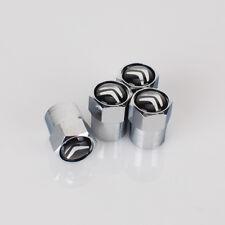 4 x Silver Chrome Tyre Valve Dust Caps (Fits CITROEN) - BLACK