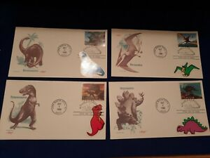 1989 Set of 4 First Day Issue Stamped Envelope Dinosaurs 4 Different