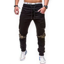 Fashion Camouflage Patchwork Long Pants - Black