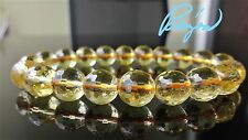 """Micro Facetted CITRINE Crystal bead bracelet for MEN (Stretch) 10mm  8"""" AAA GOLD"""