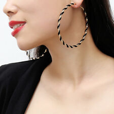 Men Balinese Thin Basketball Hula Hoops 80mm Black Big Hoop Earrings for Women