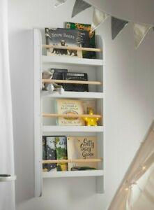 Haus Projekt Children's Grey Open Wall Bookcase, Kid's Wall Mounted Bookshelf, G