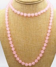 36'' 10mm Natural Pink Jade Round Gemstone Beads Necklace PN558