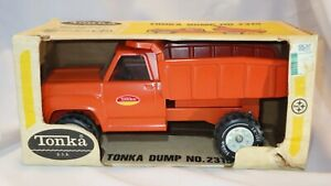 Vintage 1970's Tonka No. 2315 Pressed Steel Orange Dump Truck and Original Box