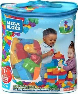 Mega Bloks Big Building Bag Baby Kids First Builders Building Blocks Blue 60 Pcs