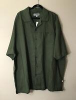 Mens Short Sleeves Linen Blend Button Front Army Green Shirt 5X Stacy Adams