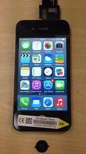 Genuine OEM Schermo LCD Pulsante Home Ricambio per iPhone 4S NERO ORIGINALE