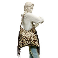 Raviani Hobo Style Bag Ivory & Copper Cowhide Leather W/ Fringe MADE IN USA