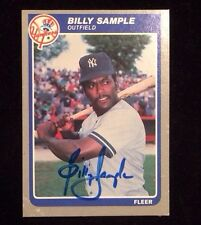 BILLY SAMPLE 1985 FLEER Autographed Signed Baseball Card U-97 YANKEES