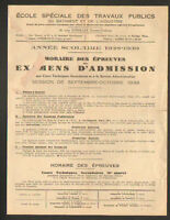 CACHAN (94) & PARIS (V°) Examens d'Admission à ECOLE des TRAVAUX PUBLICS en 1938