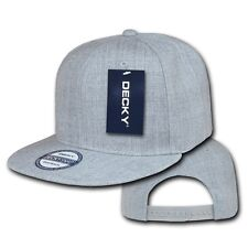 Heather Gray Plain Solid Flat Bill Snapback Vintage Classic Baseball Cap Hat