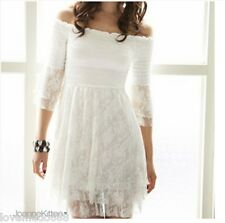 NEW KOREA WOMENs off the shoulder 3/4 SLEEVE LACE LAYER DRESS size small white
